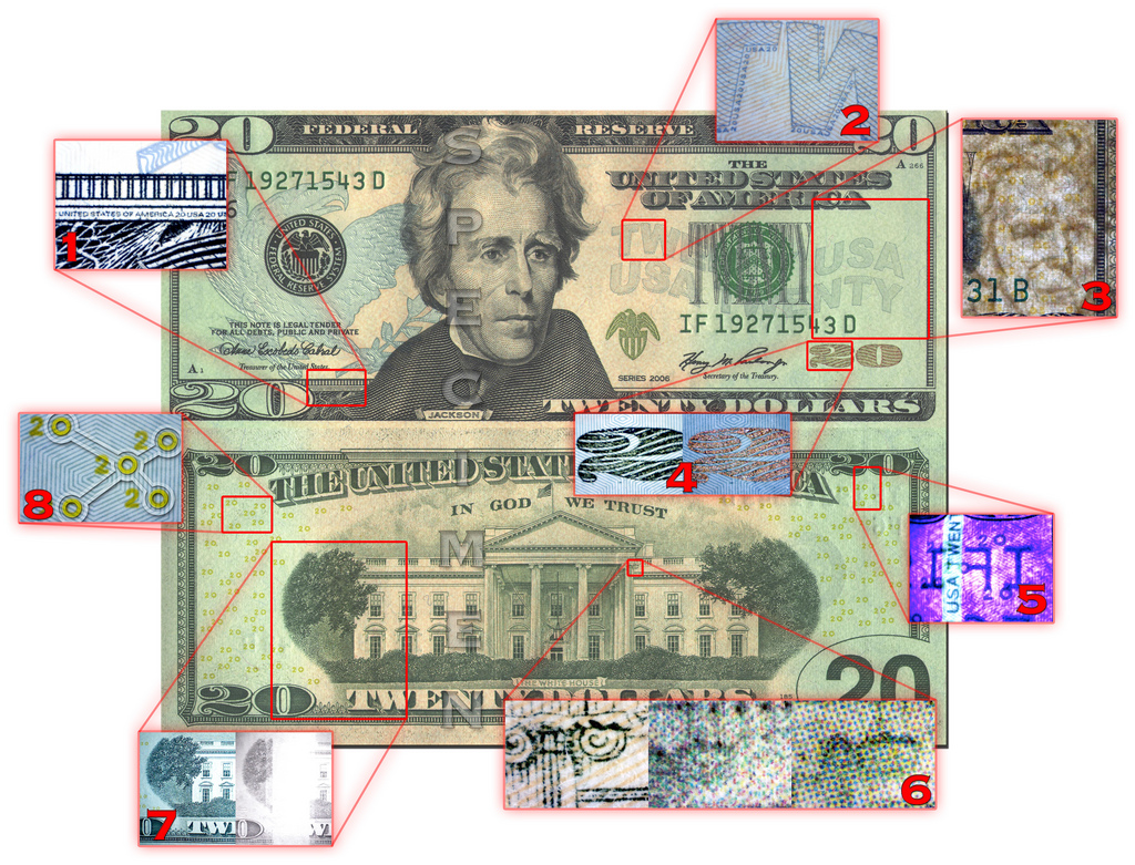 Due to the increasing availability and quality of desktop publishing software and printer/scanner technology, the US Treasury department introduced a re-designed twenty dollar bill in an attempt to thwart counterfeiting. The bill features many high tech security features that are extremely difficult or impossible to reproduce using commonly available publishing technology.